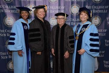 From left: Gwen Adolph, Board Chairperson, The College of New Rochelle; Debra L. Lee, Chairman and Chief Executive Officer of Black Entertainment Television (BET) Networks; Sister Mary Virginia Orna, O.S.U., Professor Emerita and Dr. Dorothy Escribano.