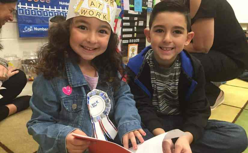 Kindergarten author Antonia Petrazzi pairs up with second grader Giancarlo Petrazzi (who also happens to be her brother) to read the book she wrote