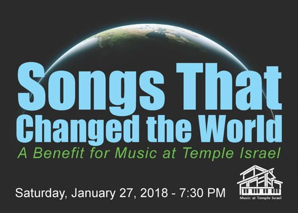 """Temple Israel of New Rochelle Presents Songs that Changed the World"""" Concert"""