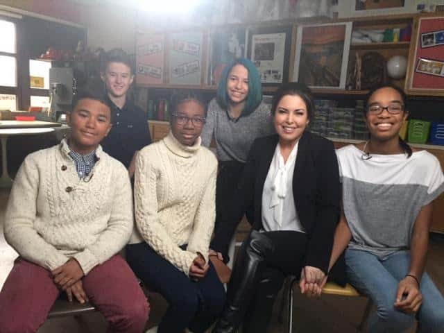 Isaac E. Young & Albert Leonard Middle School students with the TODAY Show's Bobbie Thomas.