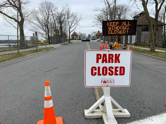 New York State mobile testing site at Glen Island Park in New Rochelle, NY.