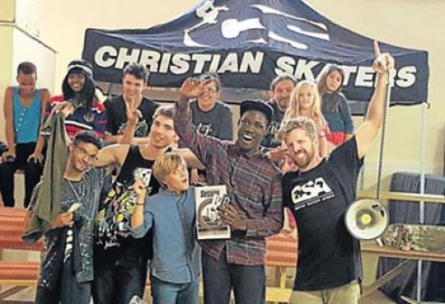 RADICAL: Chris van der Merwe, far right, of Christian Skaters Africa, with local skateboarders who competed in the 'Best Trick – PA 2016' competition