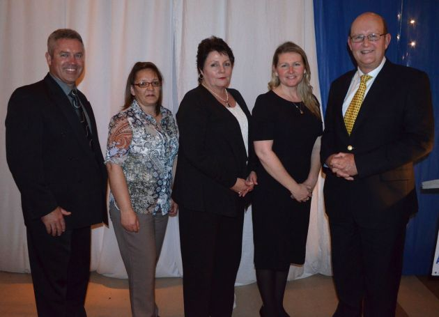 BANKING SERVICE: From left, GBS Mutual Bank business development officer Andrew Marshall, Port Alfred branch staff members Carmel Doyle, Bessie Mears and MJ Kirsten and CEO Anton Vorster at the GBS dinner for Sunshine Coast clients last week Picture: JON HOUZET