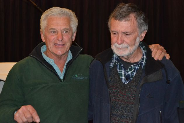 FRIENDS IN CHRIST: Chester Wilmot, left, thanked Terry Beadon for his interesting talk at the Christian Men's Association Breakfast on Saturday morning Picture: ROB KNOWLES