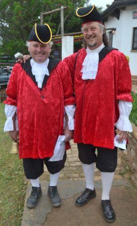 MERRY MEN: Town criers Andre Malan, left, and Shane Steenkamp doing the rounds at the Bathurst Country Affair last Saturday Picture: JON HOUZET