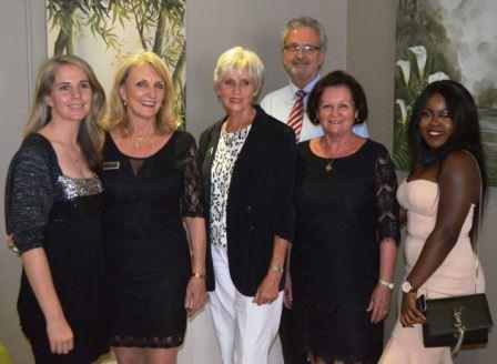 The Sotheby's Port Alfred team, from left, Holly Colville Reeves, former franchisee Heather Tyson, Lilian Neave, new franchisee Wayne Bushell, Fiona McIntosh and Faith Abolarinwa Picture: JON HOUZET