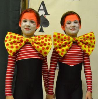 IDENTICAL TWINS: Tweedledum and Tweedledee played by Lilly and Kate Weeber in the annual Sunshine Coat Gymnastics concert