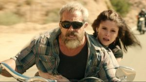 BIKE CHASE: Mel Gibson and Erin Moriarty in Blood Father, now showing at Rosehill Cinema