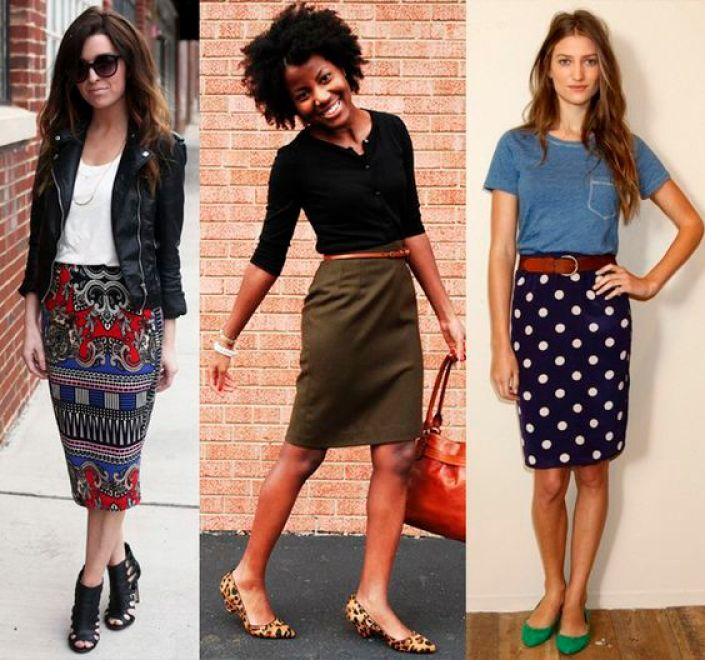 A-Printed-Skirt-with-T-Shirt-and-Flats