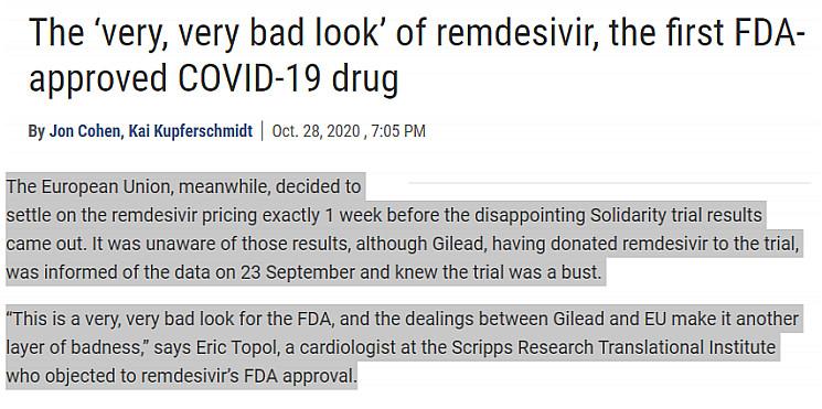 The 'very very bad look' of remdesivir the first FDA ...