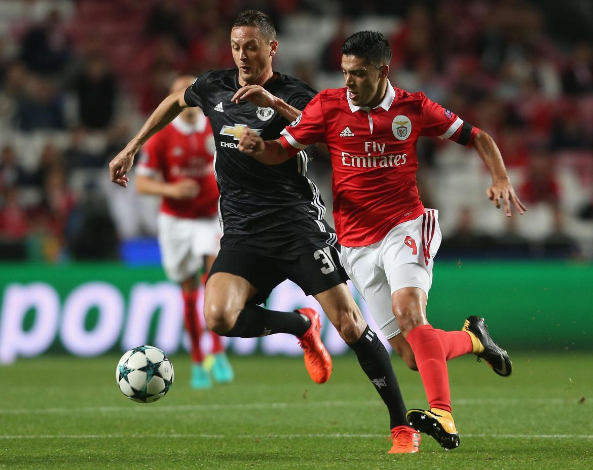 Jiminez in action against Manchester United star Nemanja Matic
