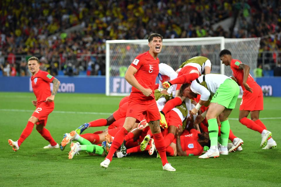 John Stones celebrates England's penalty shootout success over Colombia  Former Liverpool boss Brendan Rodgers defends Jordan Henderson and Raheem Sterling before World Cup semi-final GettyImages 990977260