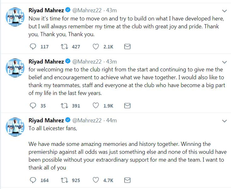 Mahrez's Tweets to the Leicester City fans  New Manchester City signing Riyad Mahrez pens emotional letter to former club Leicester City Mahrez