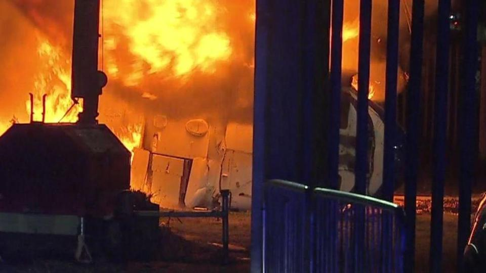 The helicopter crashed into a staff car park, bursting into flames  Leicester City confirm owner Vichai Srivaddhanaprabha one of five people to have died in helicopter crash Leicester
