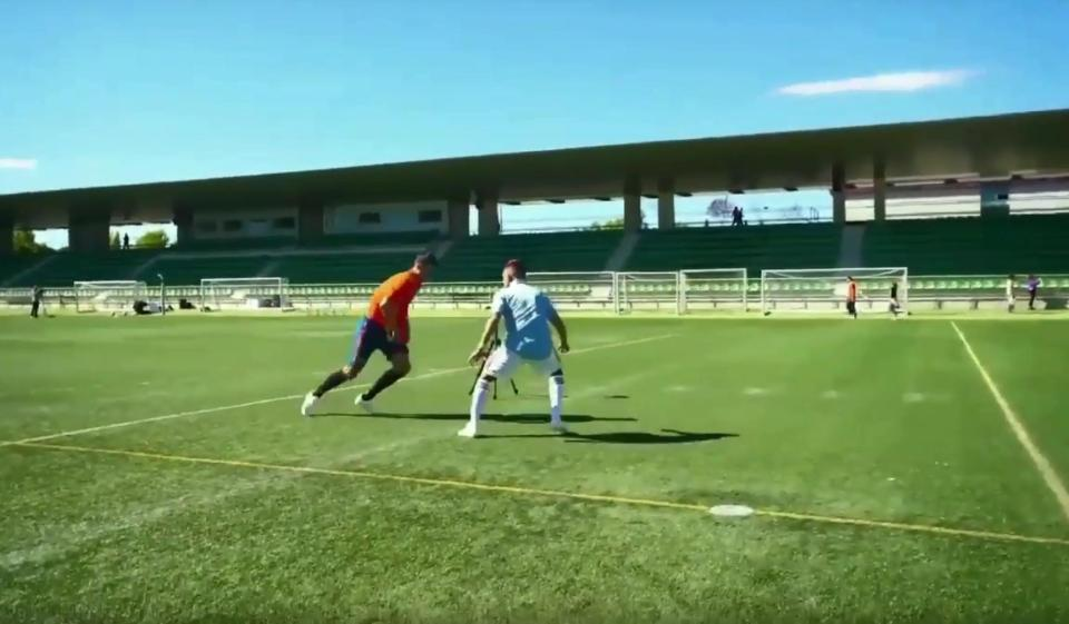 The former Real Madrid forward looked like he had done everything right, beating his co-star  Chelsea flop Alvaro Morata manages to miss from three yards out while filming Spanish TV advert Morata21