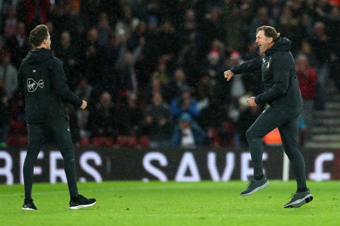 Hasenhuttl could barely contain his excitement at the final whistle