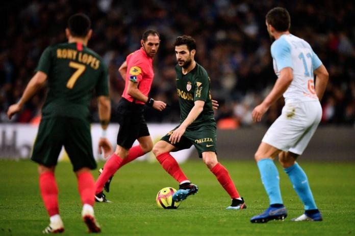 Fabregas in action for Monaco at Marseille