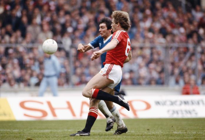 Smith (in blue) was the last Brighton player to score a top flight hat-trick back in 1980