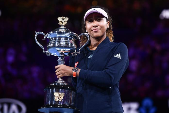 Naomi Osaka celebrates winning the Australian Open final.