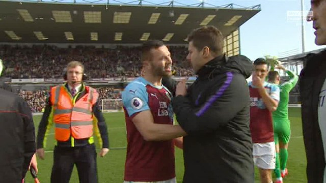Burnley's Phil Bardsley had to pull Pochettino away