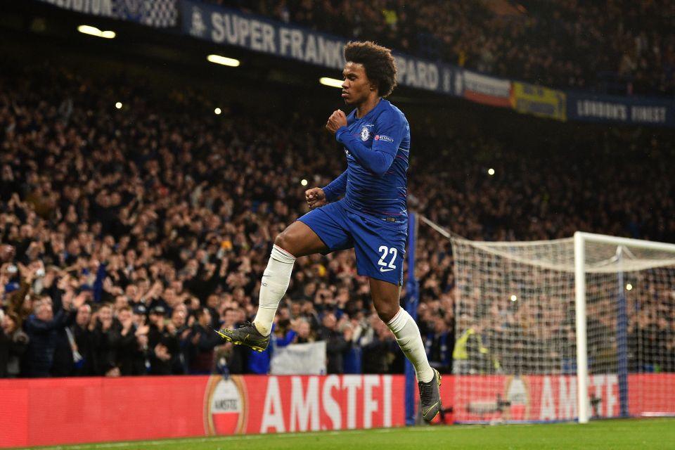 Chelsea star Willian celebrates his goal against Dynamo Kiev