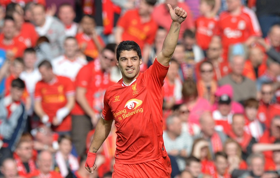 Suarez scored 31 league goals in his final season for the Reds
