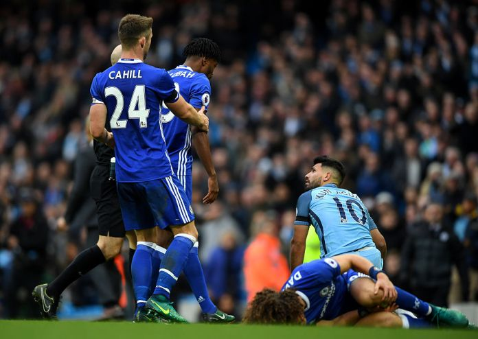 Aguero's terrible tackle left Luiz in a heap