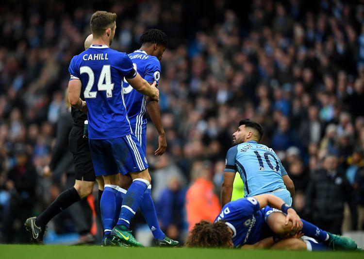 Aguero's dreadful tackle left Luiz in a heap