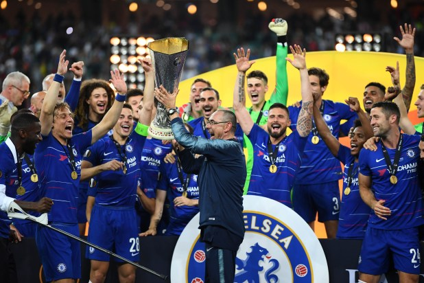 Maurizio Sarri lifts the Europa League – the first major trophy he has won in his managerial career