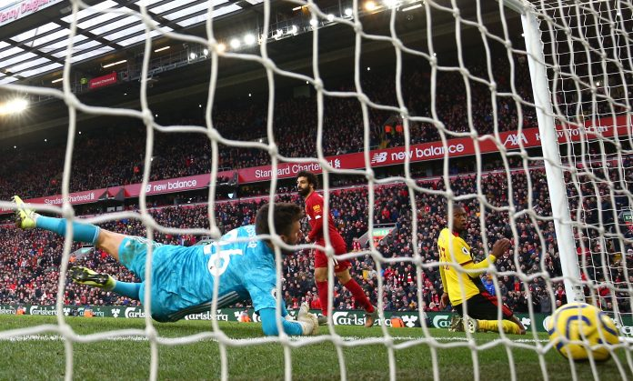 Mohamed Salah slots home his second of the afternoon