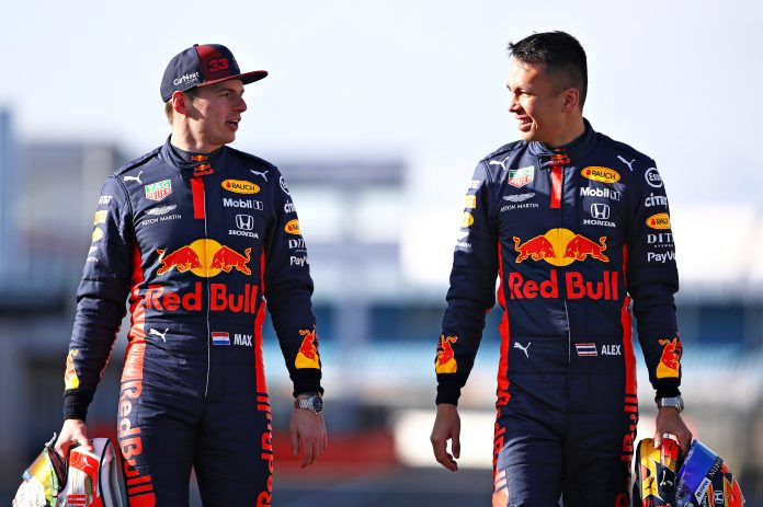 Red Bull Racing drivers Max Verstappen and Alexander Albon