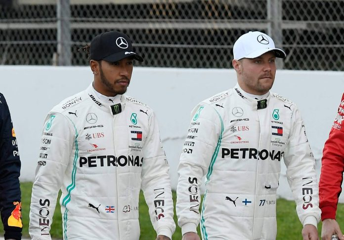Mercedes drivers Lewis Hamilton and Valtteri Bottas