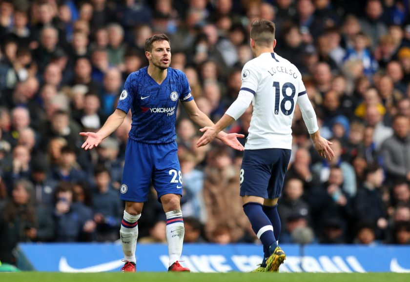 Cesar Azpilicueta faces Giovani Lo Celso after his shocking tackle during Chelsea's victory over Tottenham