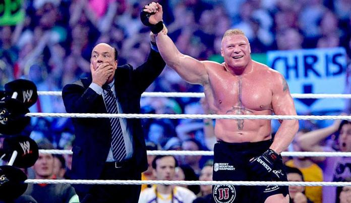 Heyman, left, played his role as a stunned bystander in Lesnar's win perfectly
