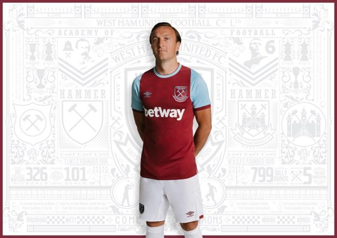 West Ham 2020/21 shirt model of the captain of West Ham