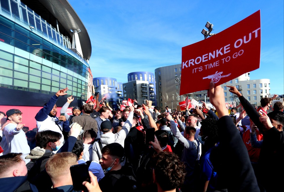 Thousands of Arsenal fans marched outside the Emirates as they called on current owner Stan Kroenke to sell