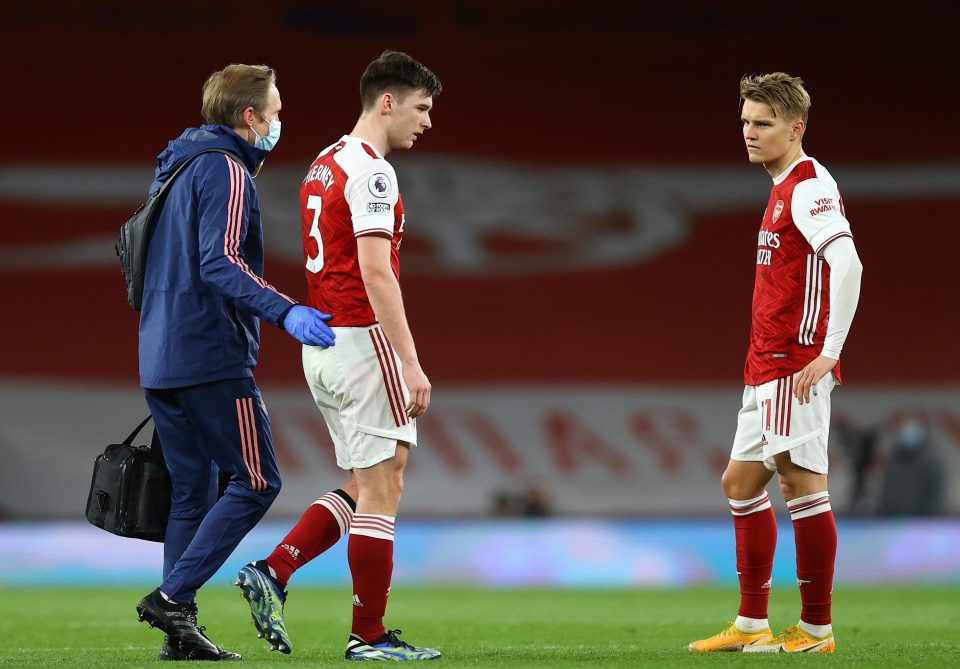 Tierney limped and now the club could be without their left-back for up to six weeks