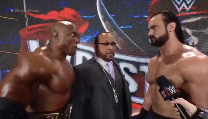 Bobby Lashley and Drew McIntyre were forced into impromptu promo while WrestleMania was delayed