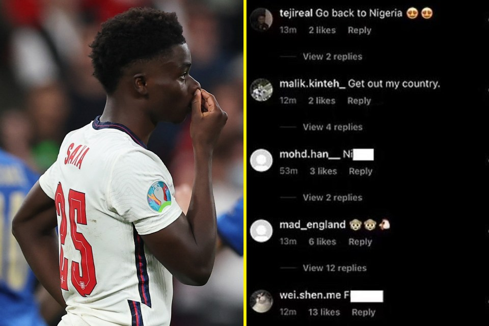 Bukayo Saka, Marcus Rashford and Jadon Sancho suffered vile abuse online after England lost to Italy in Euro 2020 final