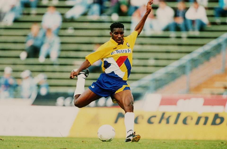 A young Okocha plying his trade in Germany – where it all began