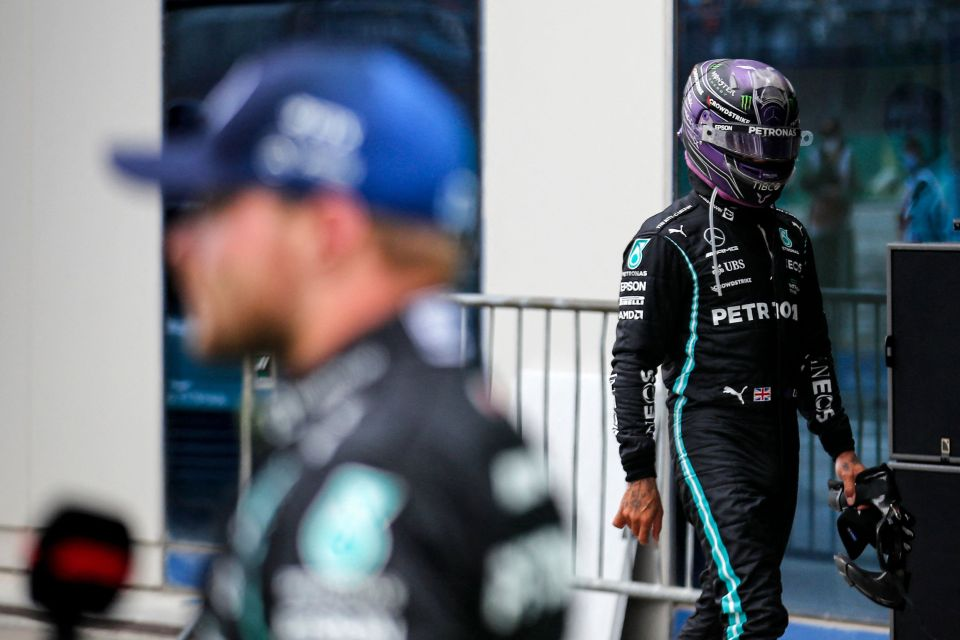 Drivers leaving their helmets on is famously a technique to hide frustration, with a gutted Hamilton heading straight to his trailer post-race