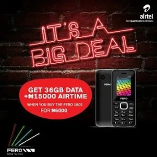 #6000 Fero 1801 Phone Gives Free 36GB Data + 15000 Airtime To Airtel Sims