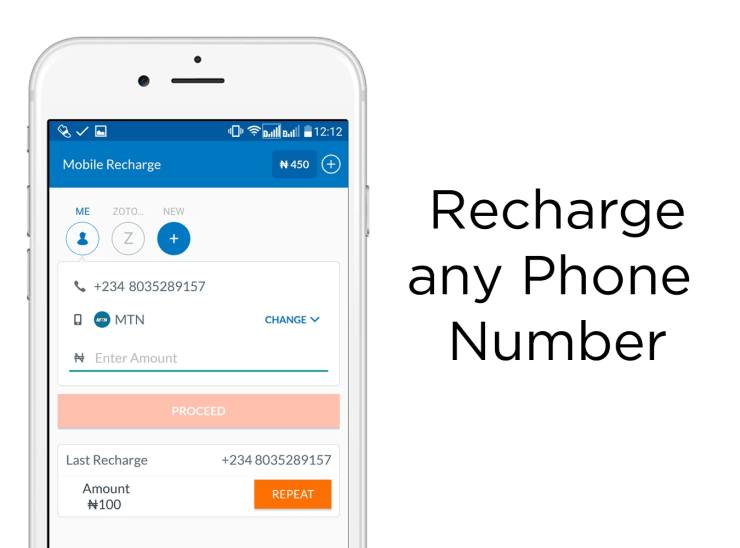 Recharge Any Phone Number with zoto
