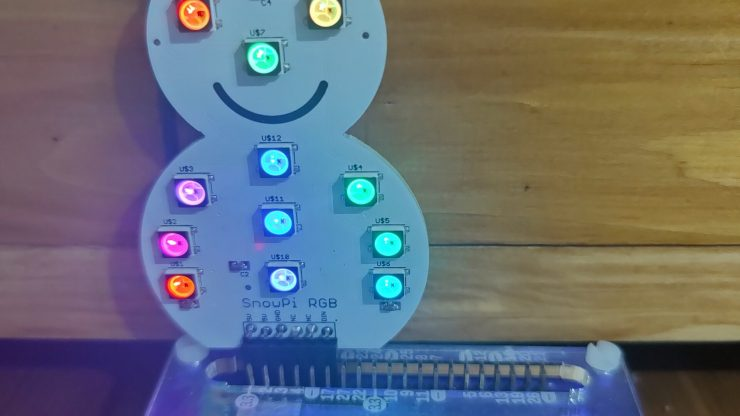 SnowPI light up and attached to a Raspberry Pi 3 A