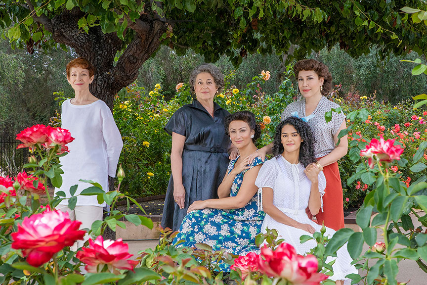 Photo Credit:(from left) Carmen Roman appears as Older Anuncia, Mary Testa as Granmama, Eden Espinosa as Mamí, Kalyn West as Younger Anuncia, and Andréa Burns as Tía in The Gardens of Anuncia. Photo by Jim Cox.