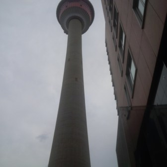 An ominous shot of the Calgary Tower
