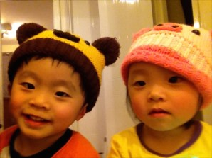 Showing off their new hats :)