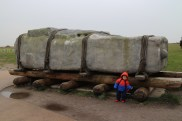 Annabelle was posing with the big replica of the stone (for Stonehenge).