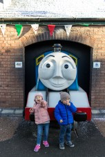 Both got excited with the real-size Thomas trains.