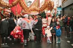 Watching dragon dance in Chinatown.